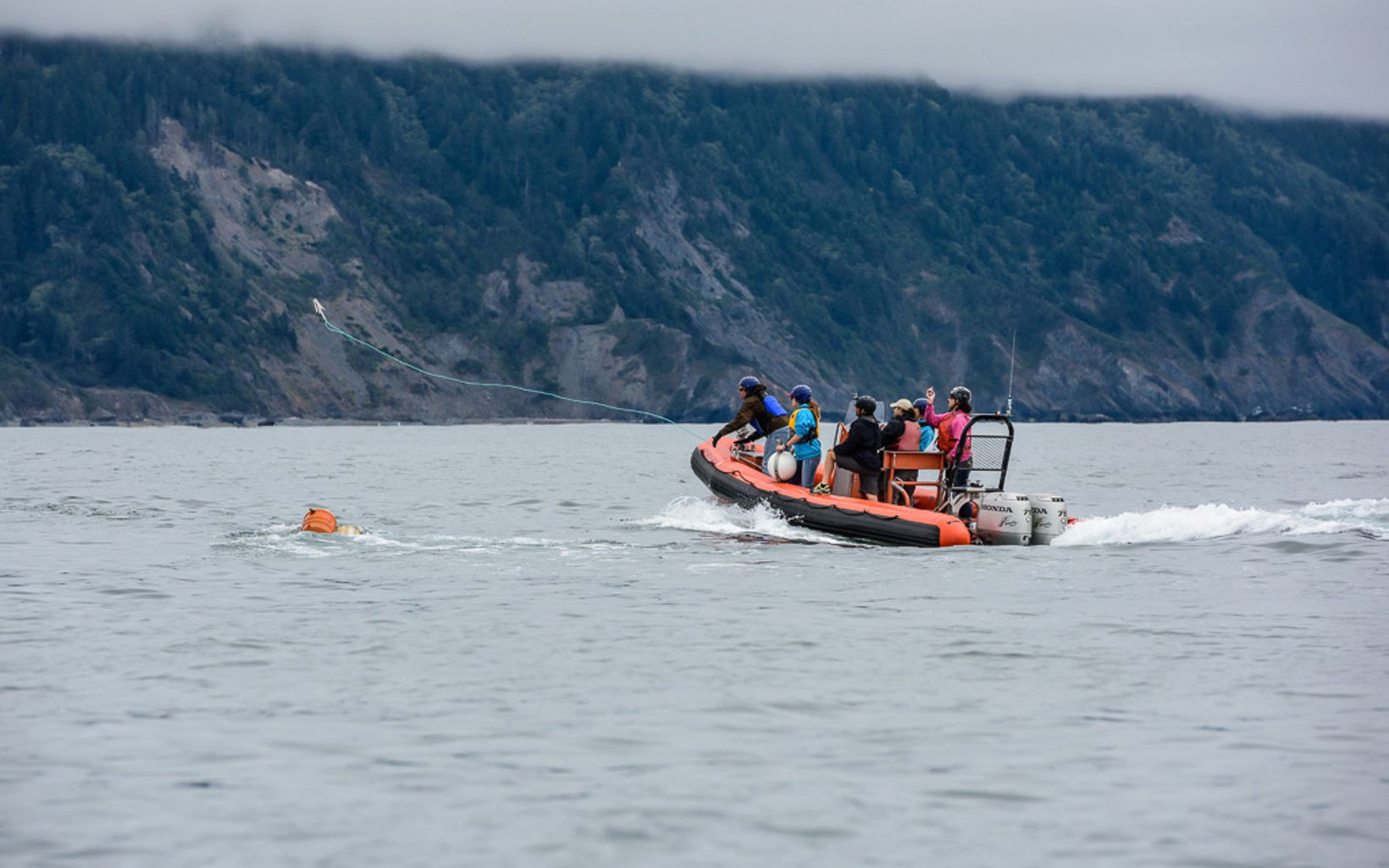 A group of people in an orange inflatable dinghy. One of them is in the process of throwing out a line in the direction of a crab pot buoy in the water.