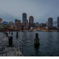 The view of Boston from Fort Point.