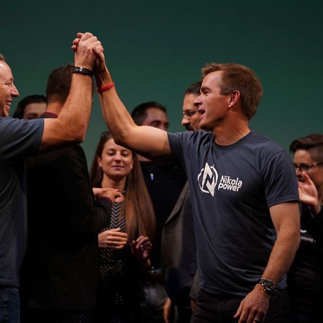 Team members from Nikola Power celebrate their accomplishments at Techstars Demo Day