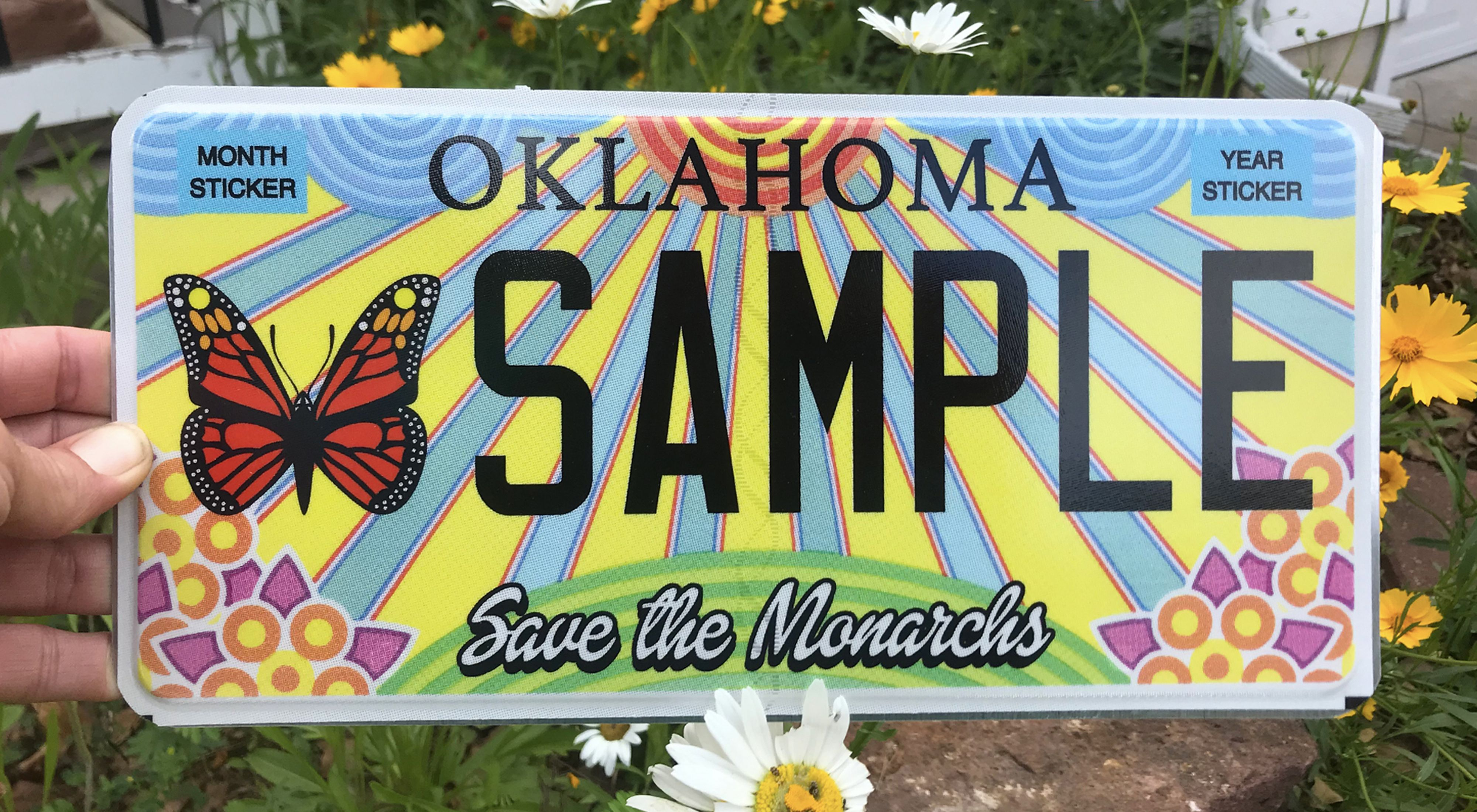 Photo of an Oklahoma monarch license plate.