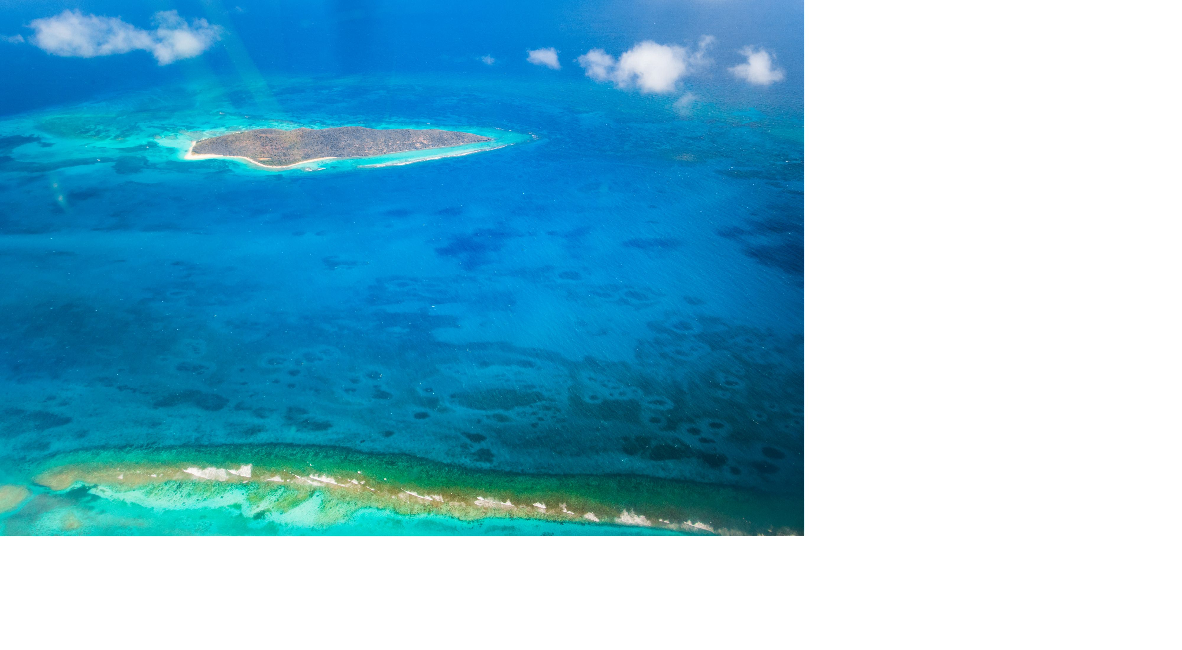 An aerial view of coral reefs in a blue ocean.
