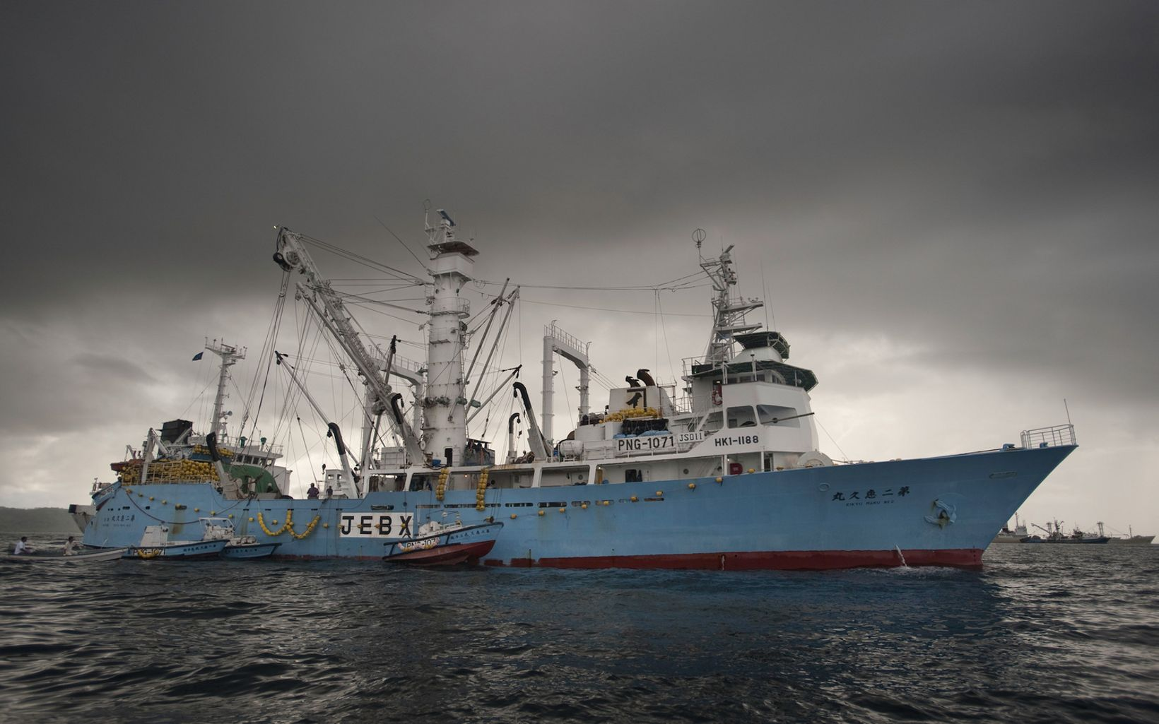 Large tuna purse seine fishing boats in Micronesia.