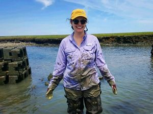 Angelina working on a volunteer project to build oyster castles for TNC in Virginia.