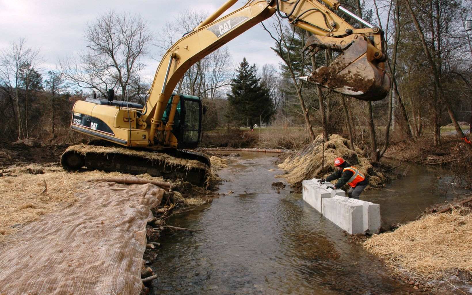 Progress is made on a stream restoration project.