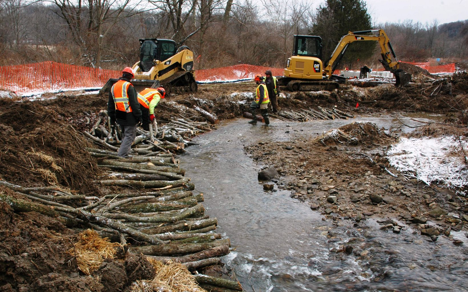 Construction takes over at a stream restoration.