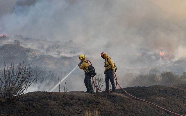 Firefighters in the Thomas Fire in California.