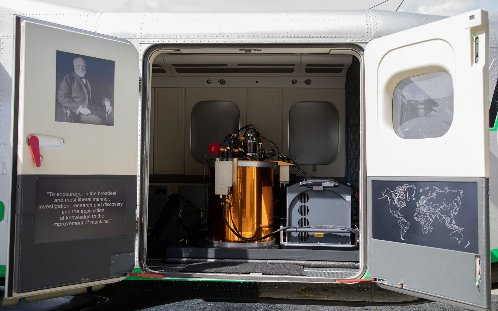 Inside the GAO aircraft. The aircraft's state-of-the-art technologies have the capacity to asses coral reefs at geographic scales, spatial resolutions and accuracies.