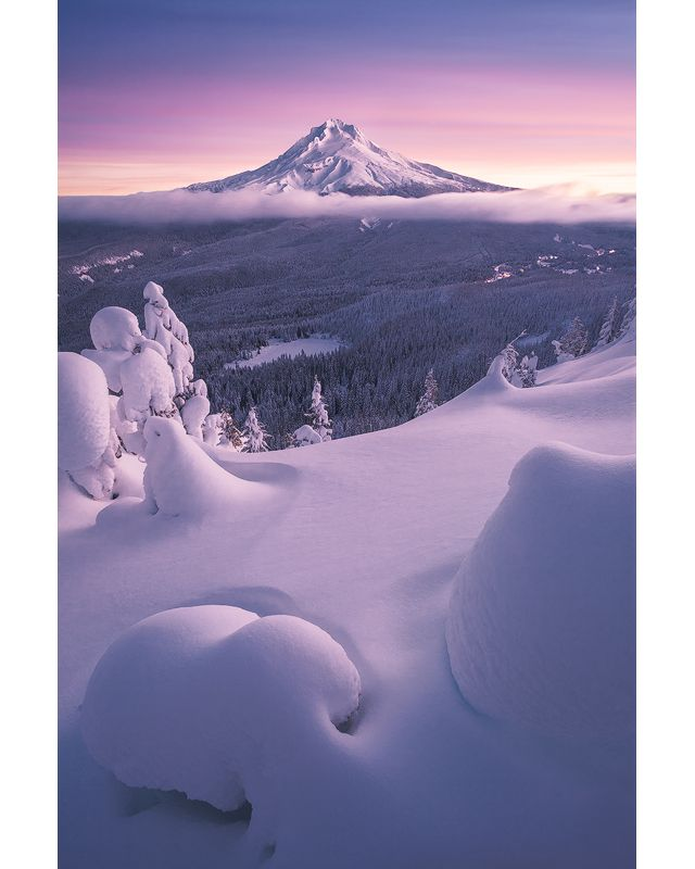 Mount Hood visible from Tom Dick and Harry Mountain after a winter storm at sunrise. This photo was entered into The Nature Conservancy's 2018 Photo Contest.