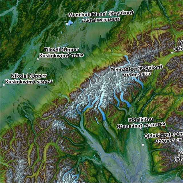 Map showing Denali and surrounding locations in Alaska.