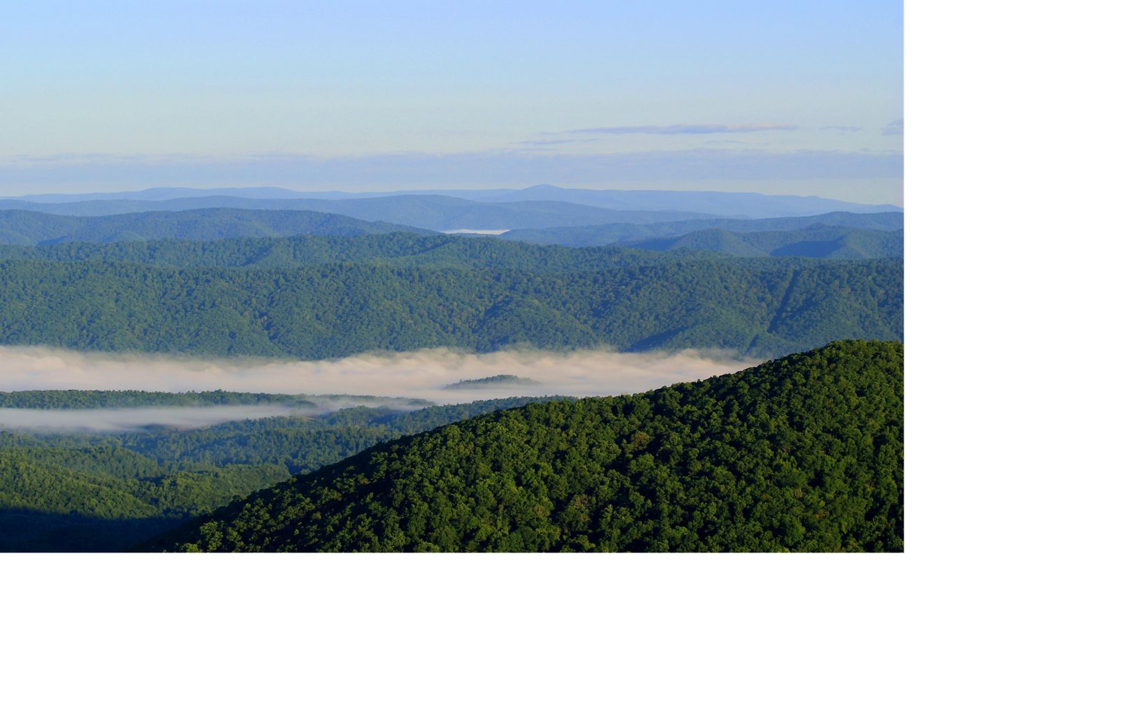 View of fog settling in the valleys shortly after sunrise at Flag Rock, Warm Springs Mountain Preserve, Virginia.