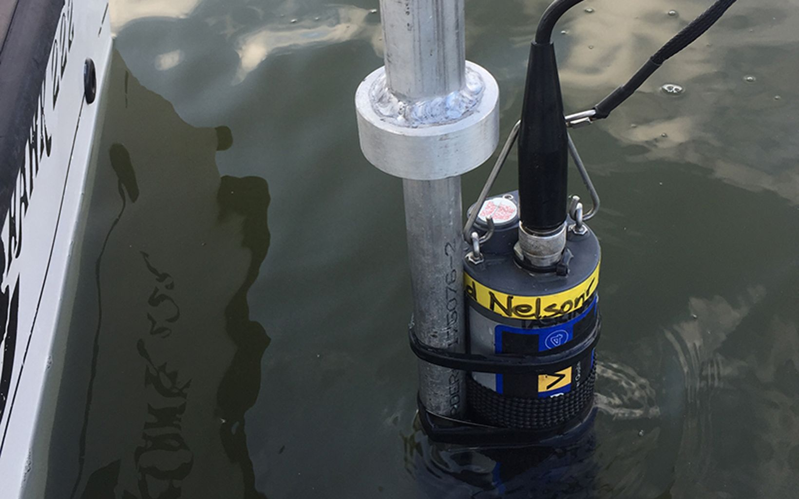 A water quality sensor samples the water every 10 seconds measuring dissolved oxygen, water temperature, salinity, and chlorophyll.