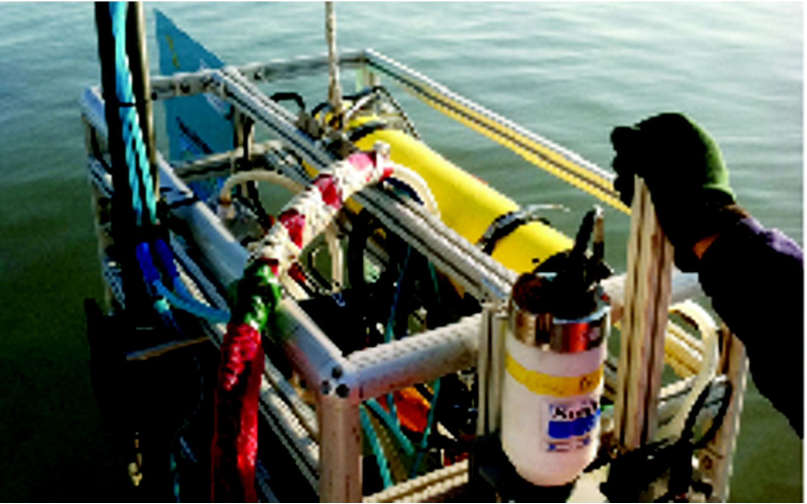 This piece of equipment has several sensors mounted to it that measure water quality characteristics such as temperature, salinity, pH, clarity and particulates.