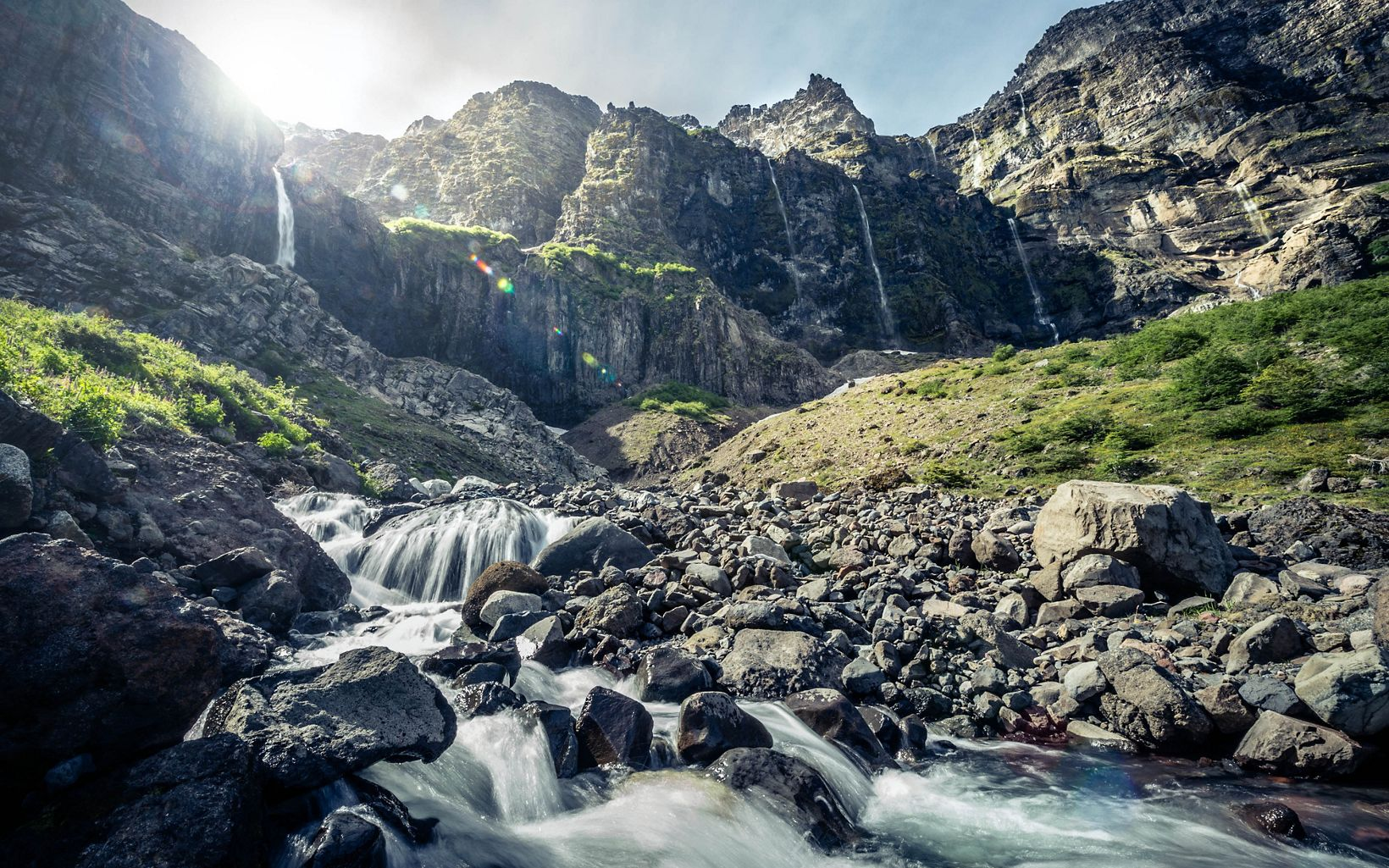Waterfalls and upland streams cascading from Mount Tronador in Vicente Perez Rosales National Park.