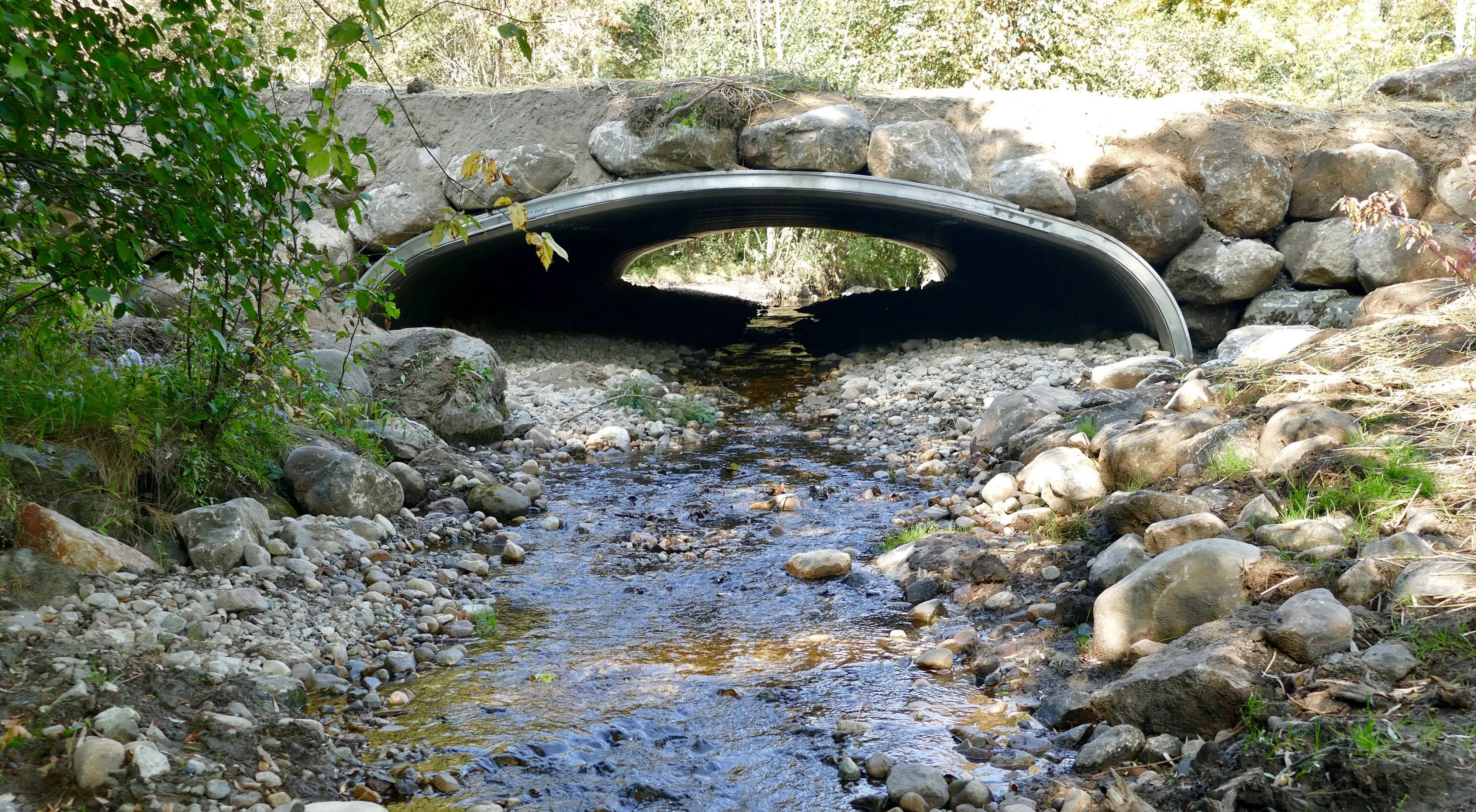 A view from the middle of a stream looking up and directly at a finished culvert.