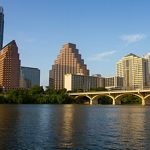 The Austin skyline from a river.
