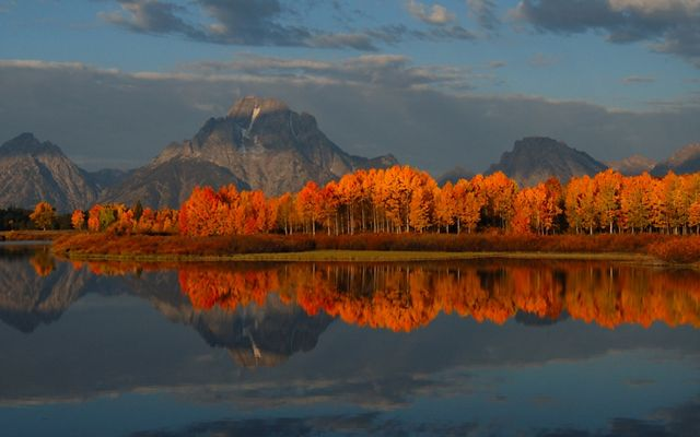 Red-leaved trees reflected in a lake glow in the Teton Mountain range.