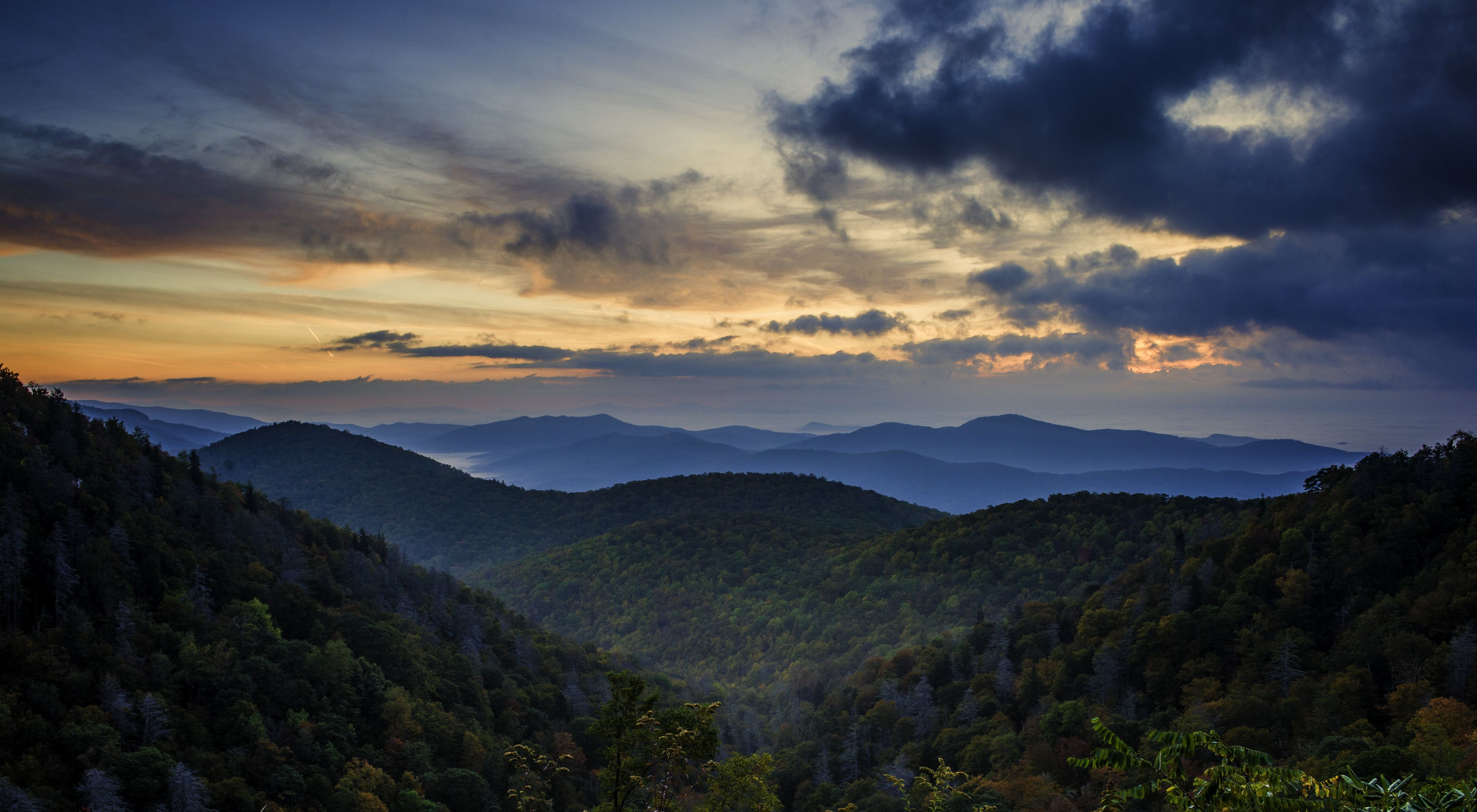 The sun setting over the Blue Ridge Mountains in North Carolina.