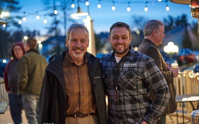 Brewmaster Paul St. Onge (right) and the owner of Backyard Brewery in Manchester, New Hampshire.