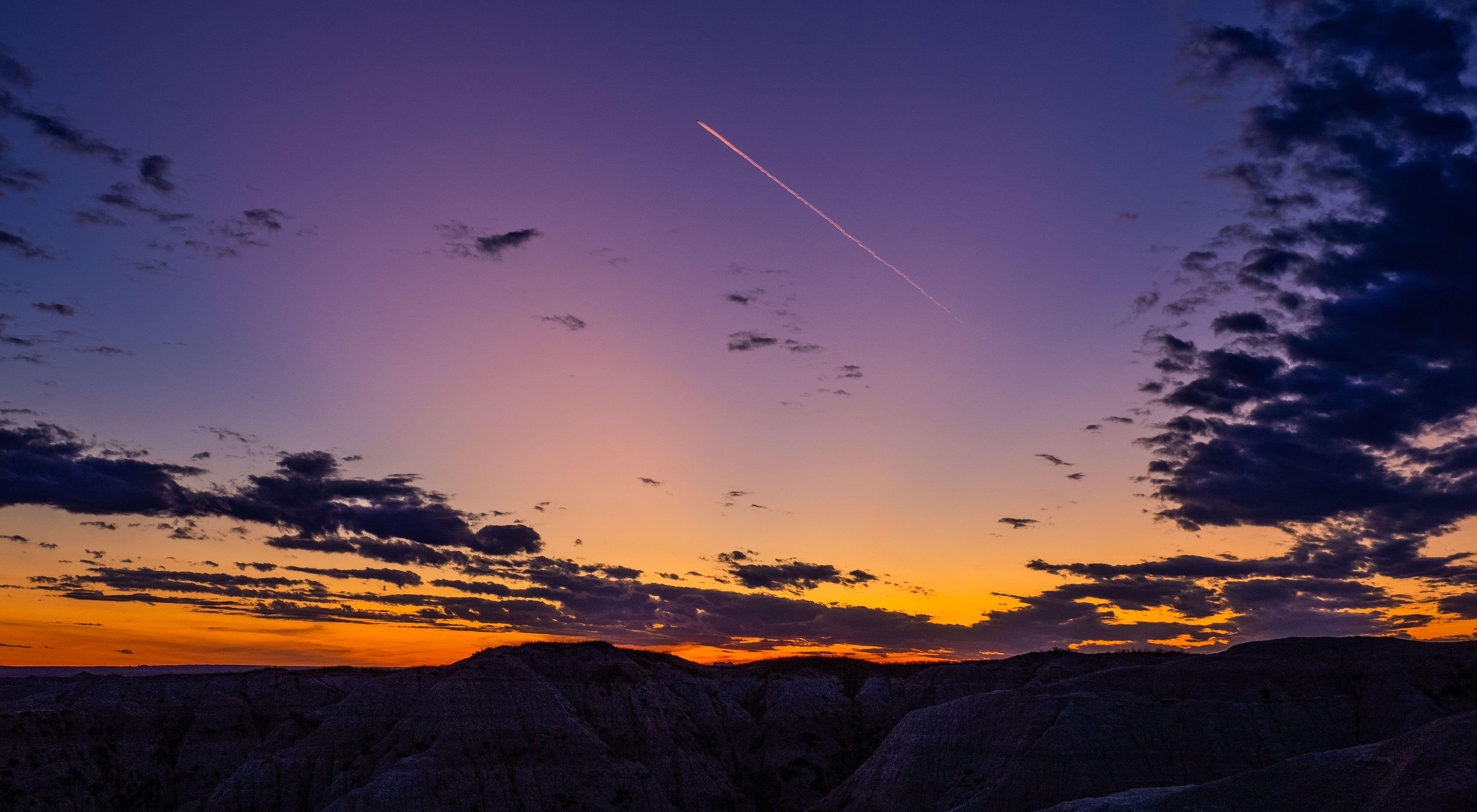A spectacular orange and purple sunset.