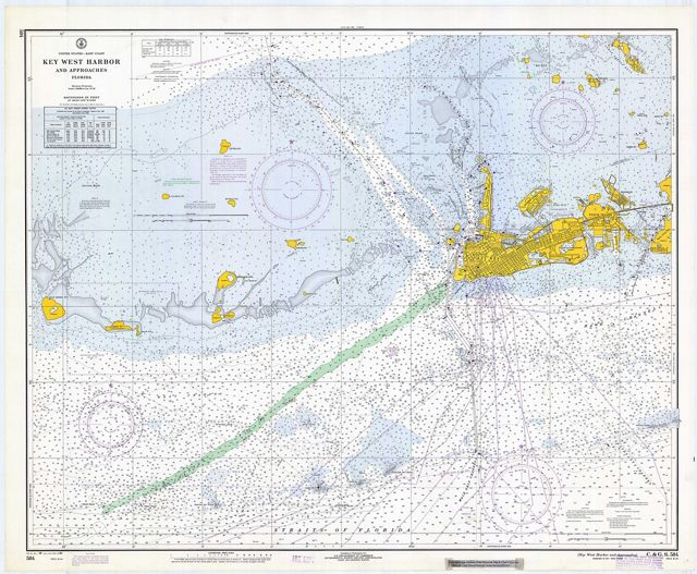 picture of a map of Key West Harbor and surrounding water and islands with keys highlighted yellow
