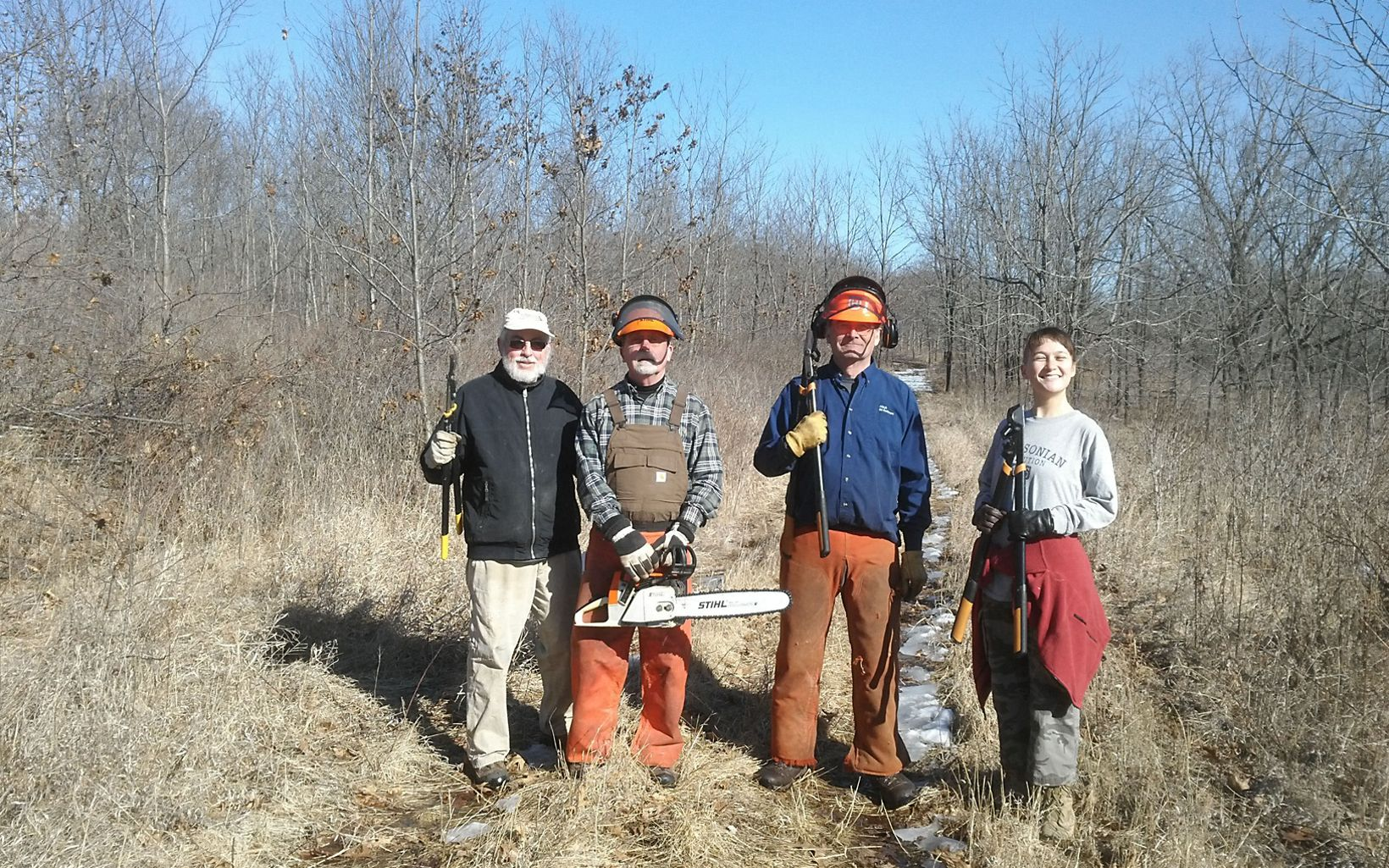 Late fall and winter are a great time to tackle invasive shrubs like buckthorn and honeysuckle.