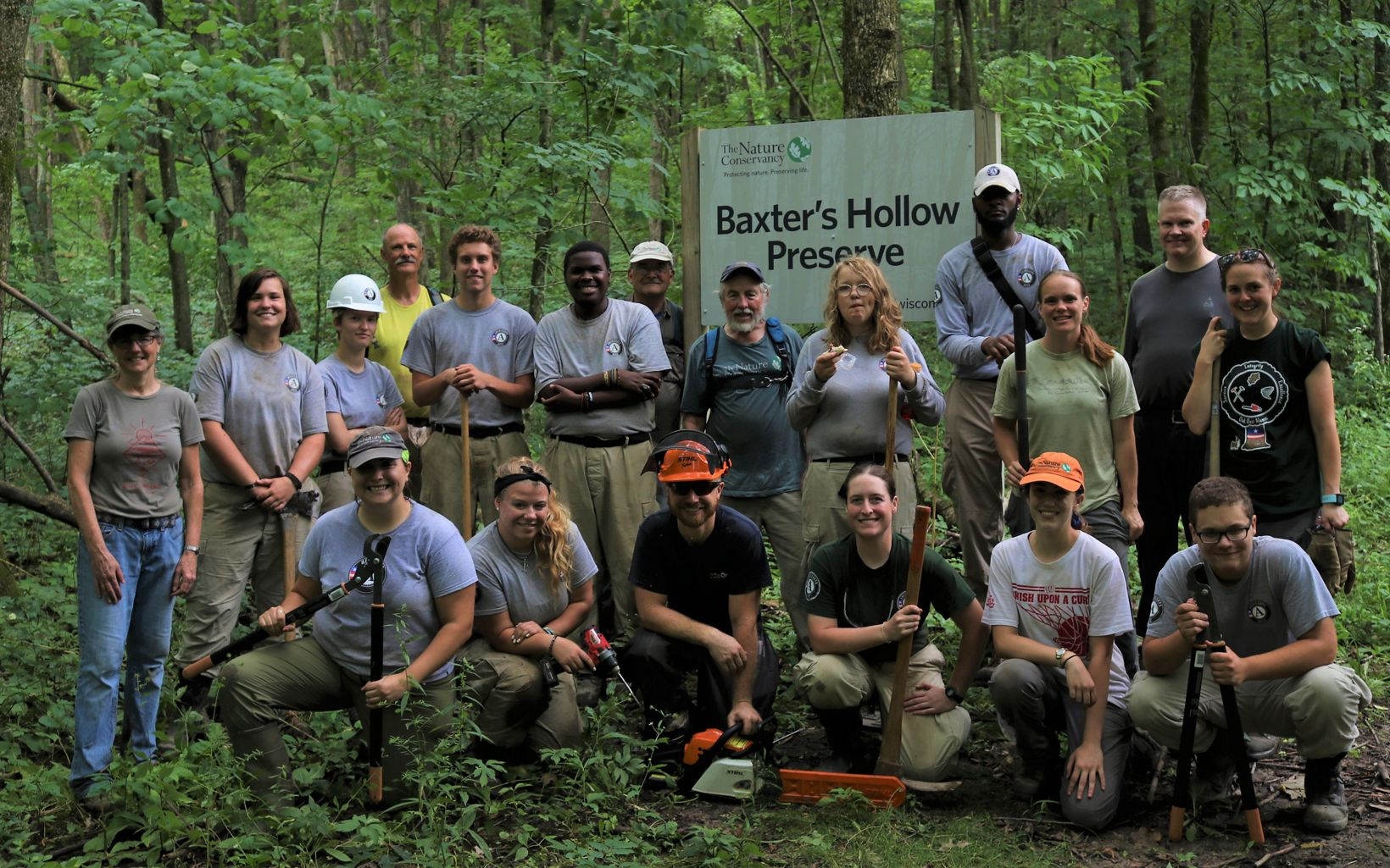 AmeriCorps NCCC crews work with volunteers and staff to improve hiking trails on preserves during the summer.
