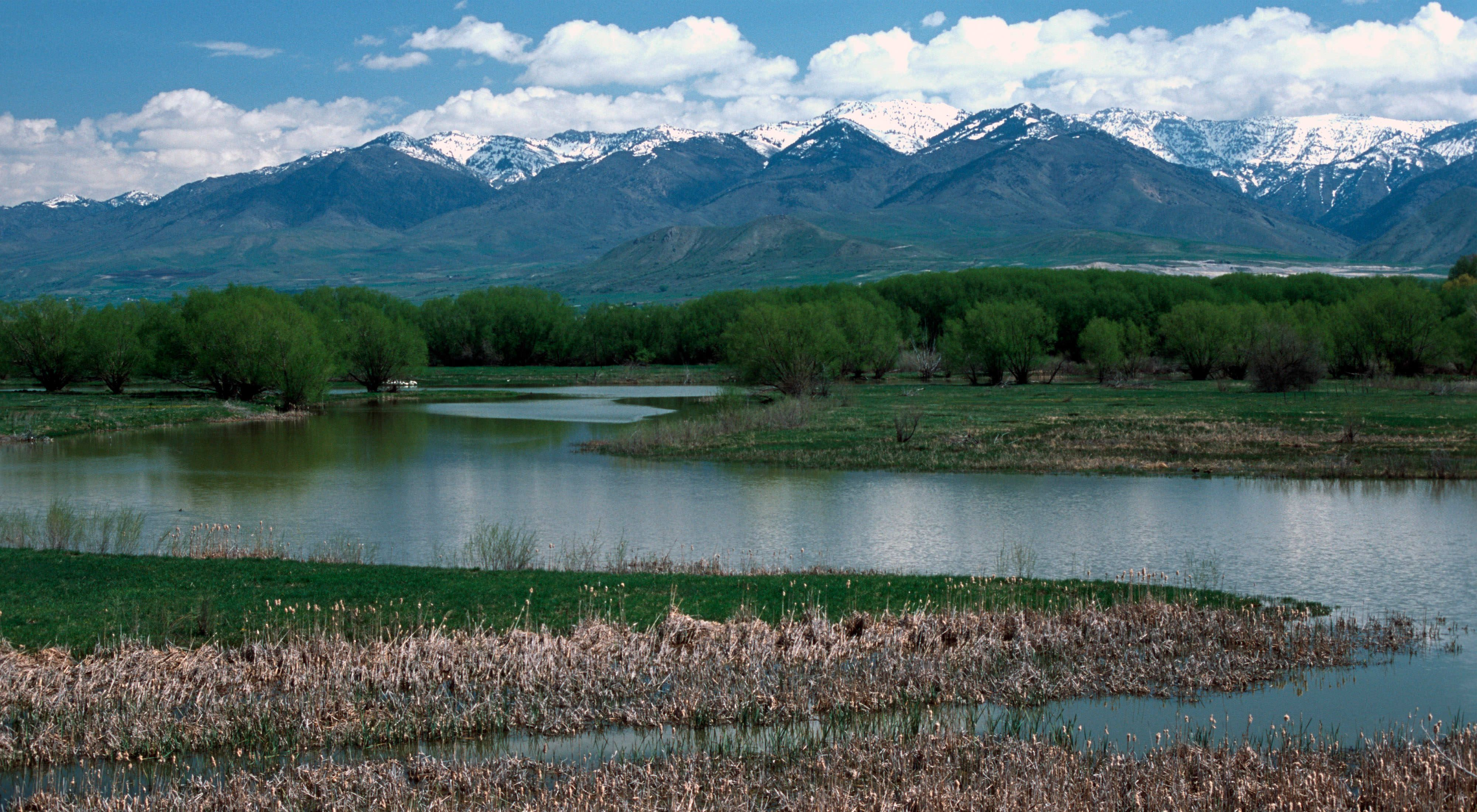 Landscape view of the Bear River and reflected mountains.
