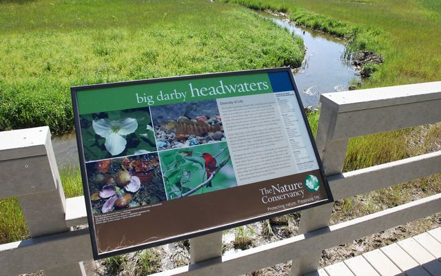 Interpretive signage at the Big Darby Creek Headwaters Preserve