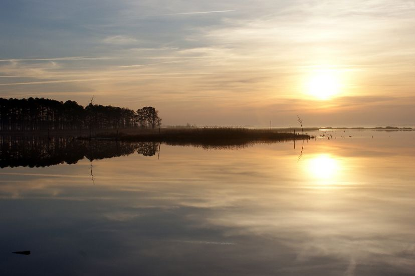 The sun rises over Blackwater National Wildlife Refuge. The sun is reflected in the still water.