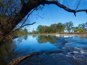 Water flowing in the Blue River in Oklahoma.