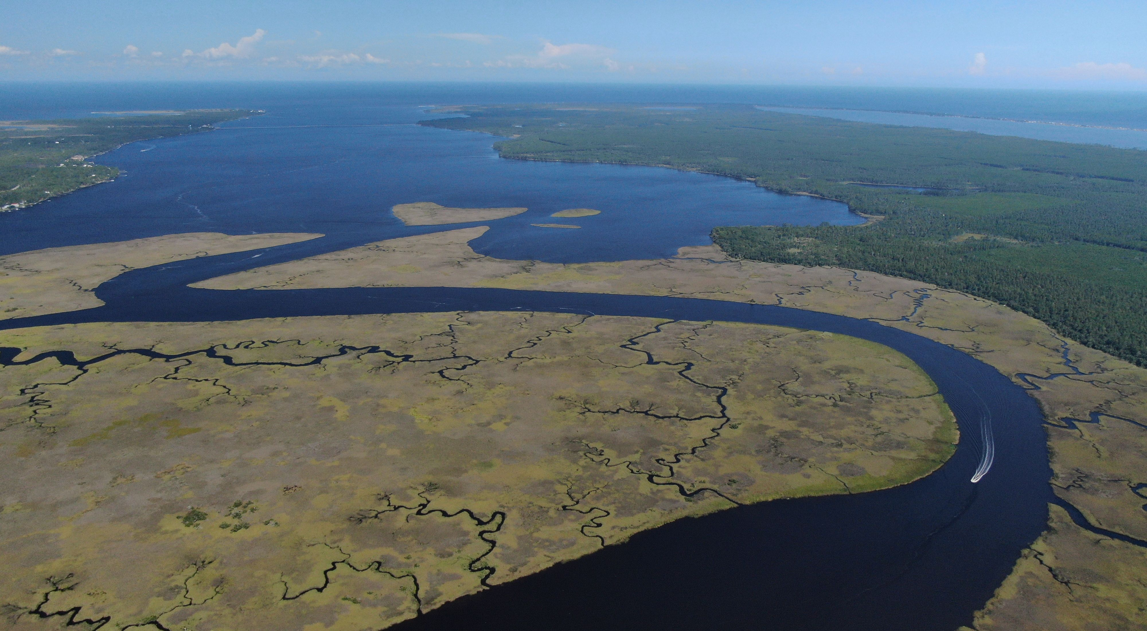 Aerial view of rivers and lakes at the Bluffs of St. Teresa in the panhandle region of Florida.