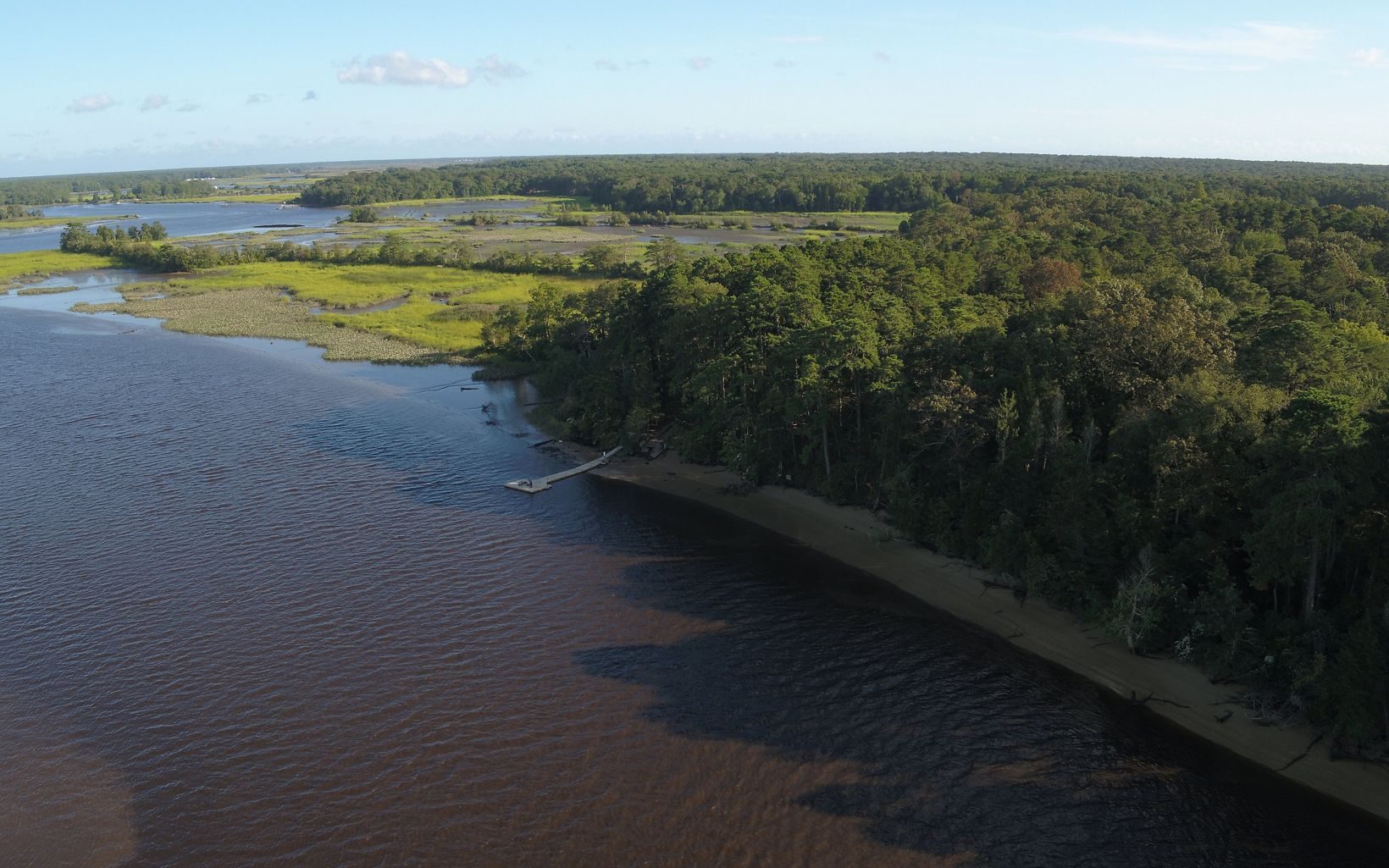An aerial view of the Maurice River.