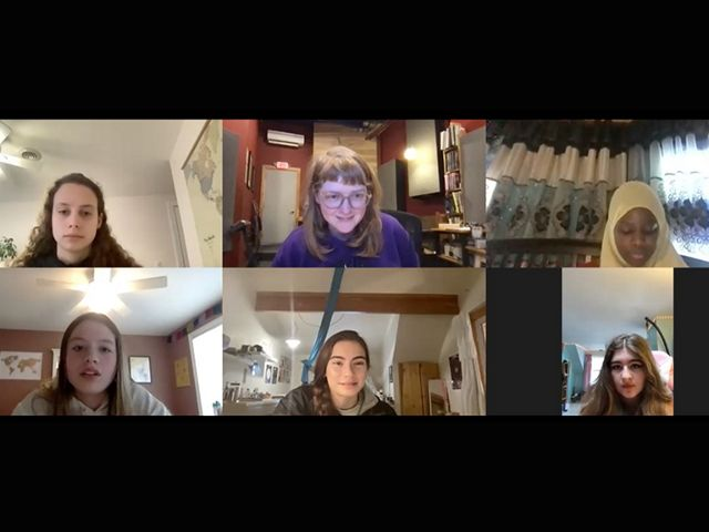 Six young women in a screen capture from a Zoom meeting.