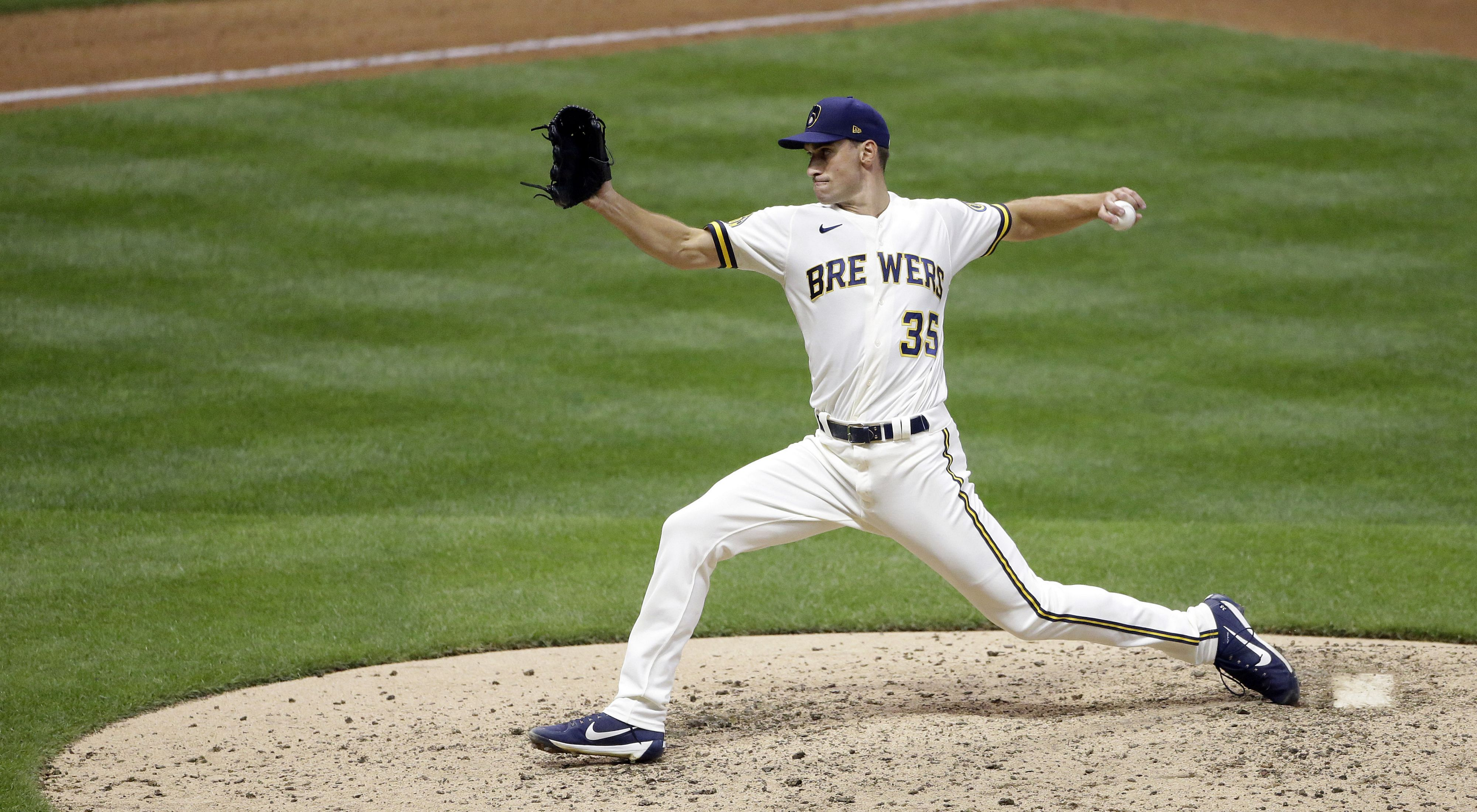 Milwaukee Brewers' Brent Suter pitches during the seventh inning of a baseball game against the Cincinnati Reds Tuesday, Aug. 25, 2020, in Milwaukee.