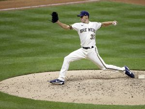 Milwaukee Brewers pitcher Brent Suter throws a pitch from the pitcher's mound