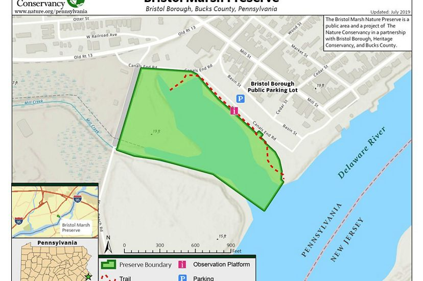 A map highlights the location of a nature preserve in green.