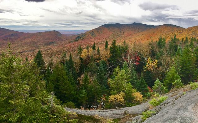 Photo of colorful fall foliage on Burnt Mountain in Vermont.
