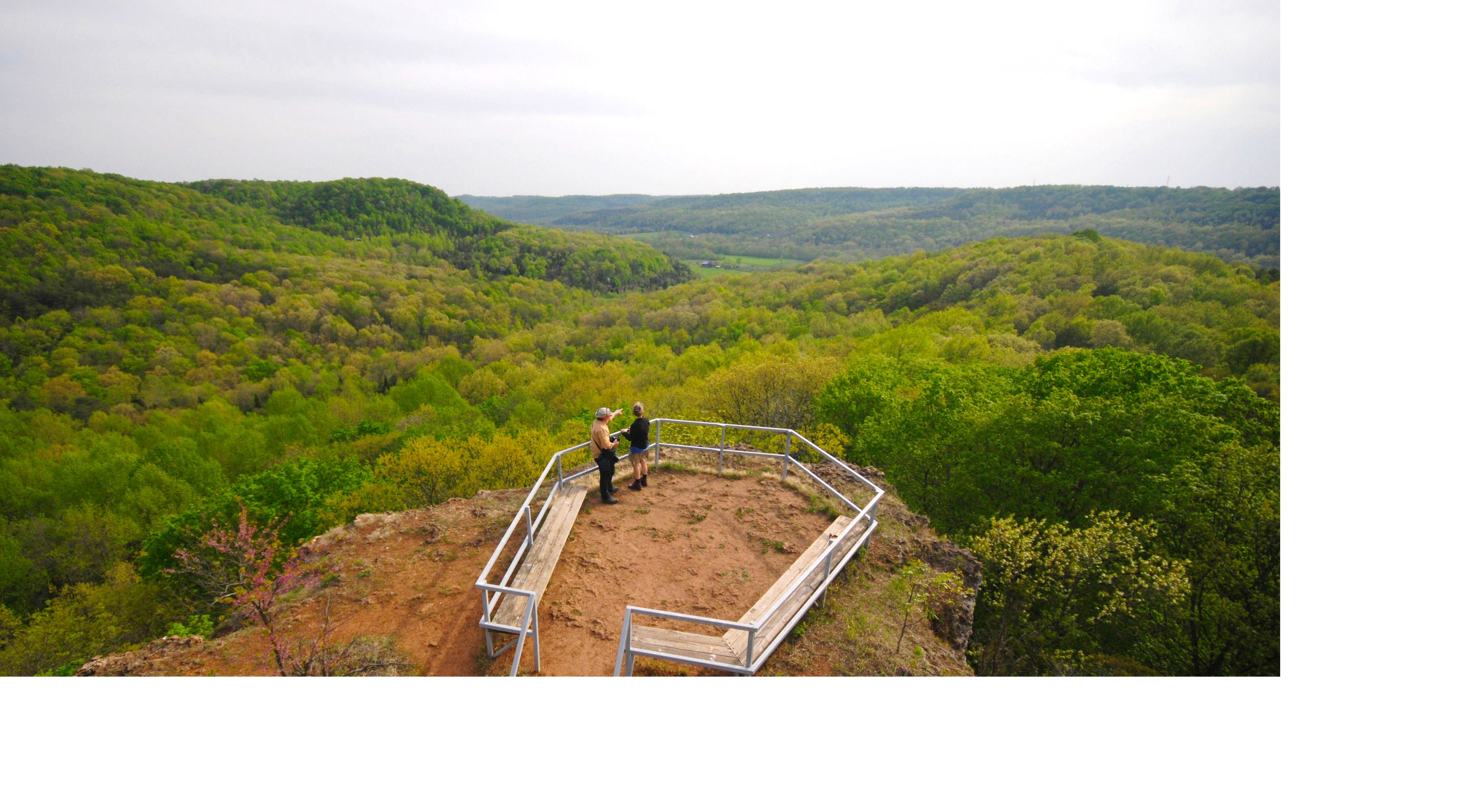 A drone camera view of the overlook at Buzzardroost Rock at the Edge of Appalachia Preserve System.