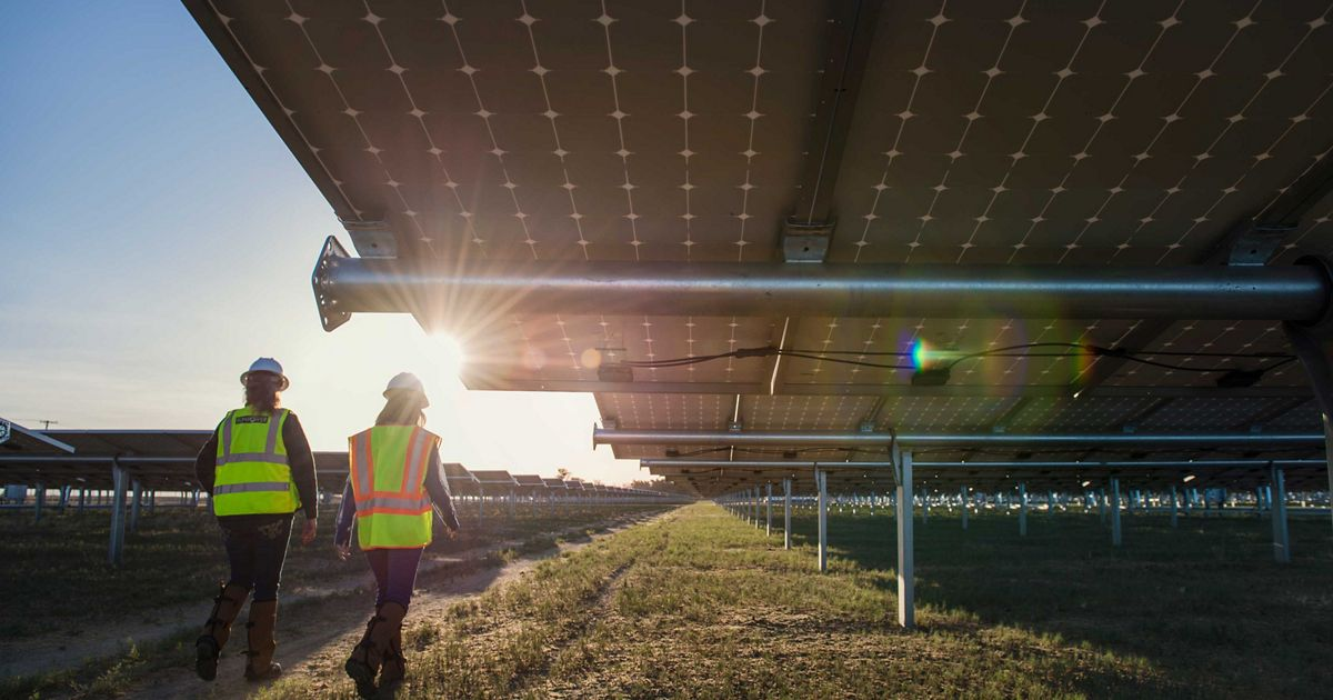 two people in hard hats and yellow vests walk beneath a solar array at sunset