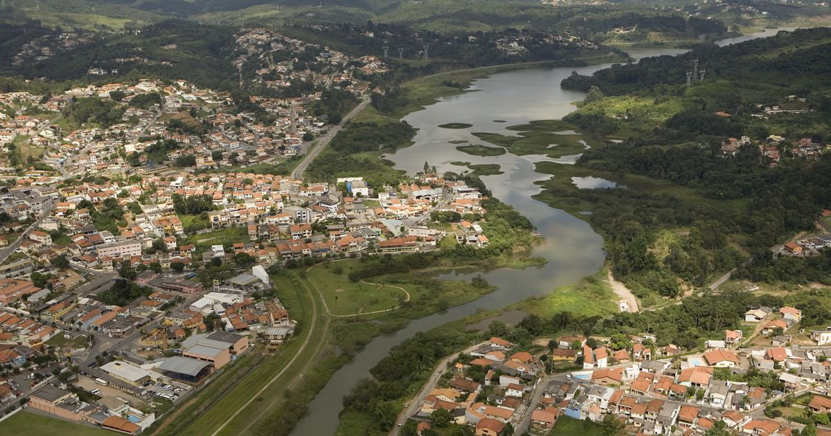 Aerial view of the Paiva Castro Reservoir and adjacent towns, expanding out from São Paulo, Brazil.
