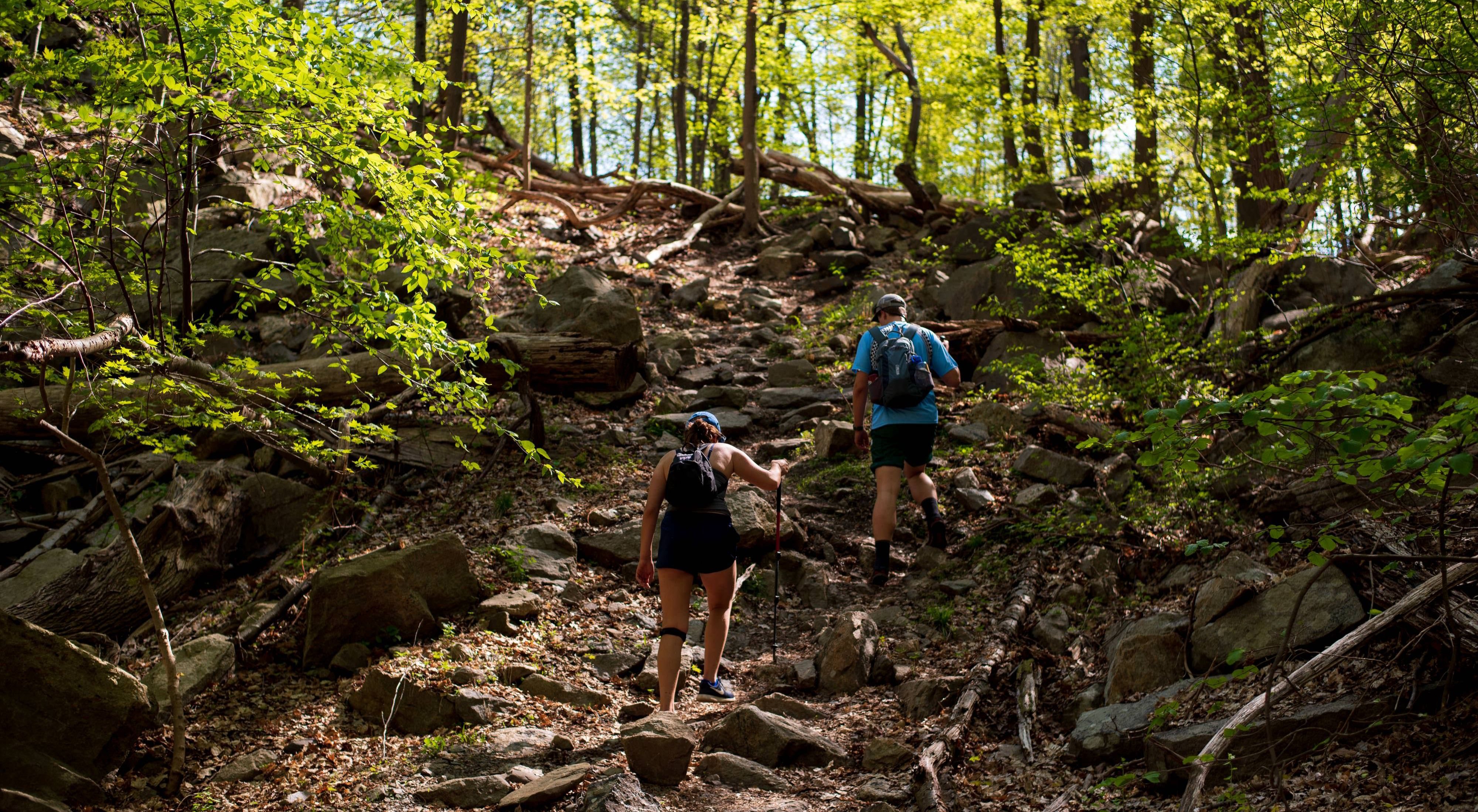 Two hikers walking upwards along a sloping trail.