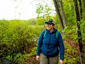 A hiker exploring a Conservancy preserve.