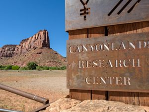 Canyonlands Research Center entrance sign.