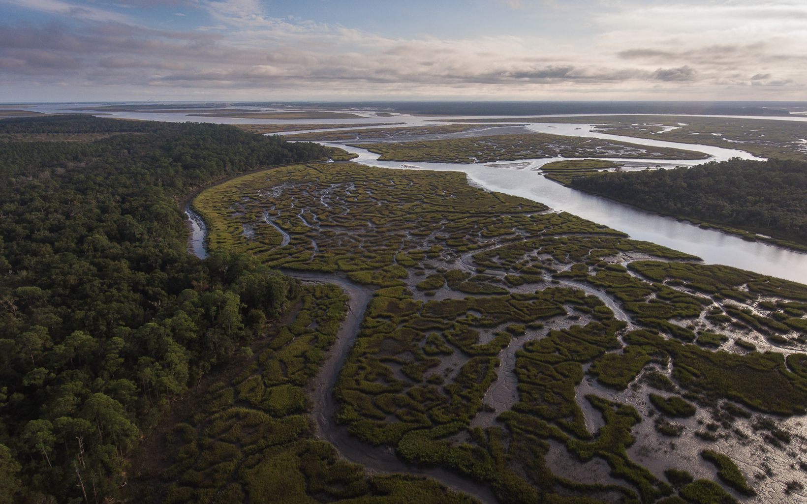 Aerial view of a river and marsh,