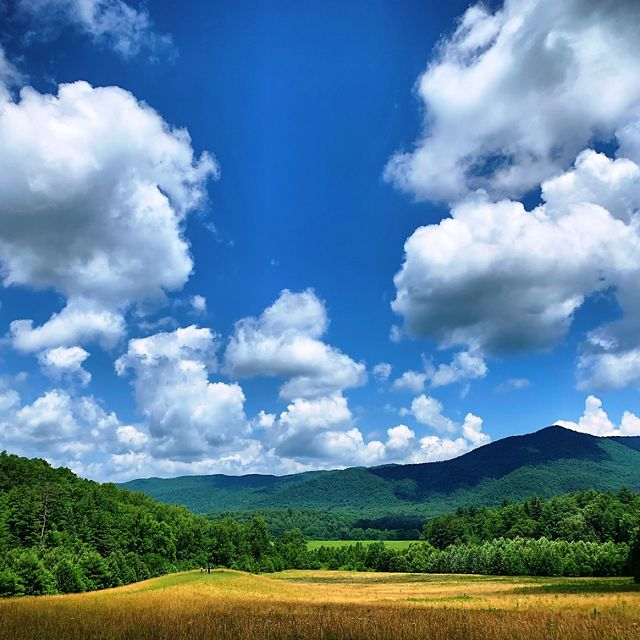 Clouds frame Cades Cove in the Great Smoky Mountains National Park.