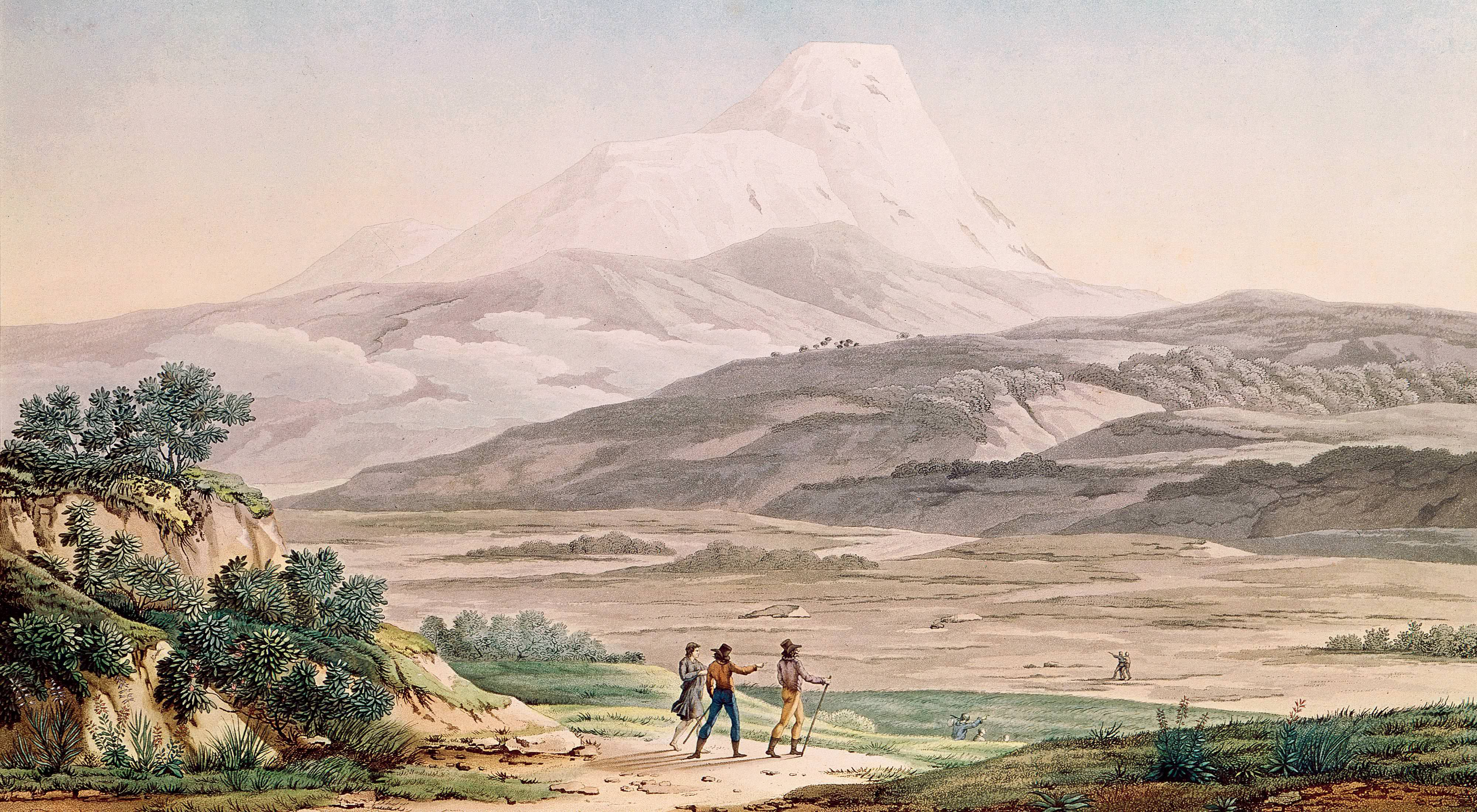 A print from 1814 shows Alexander von Humboldt and his companions exploring Ecuador