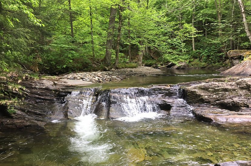 The picturesque Calavale Stream flows at Burnt Mountain in the Northeast Kingdom of Vermont.