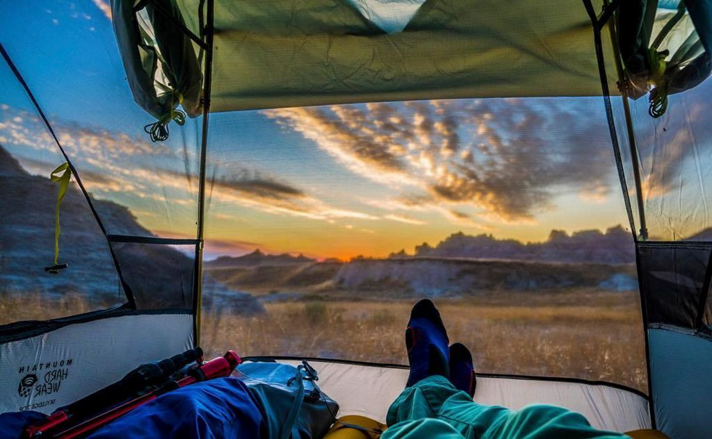 View of South Dakota Badlands from inside of a tent.