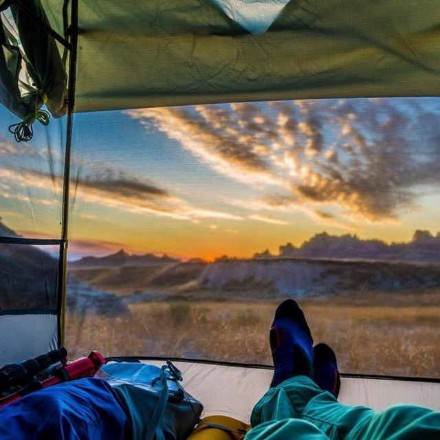 Views of the South Dakota badlands from inside a tent.