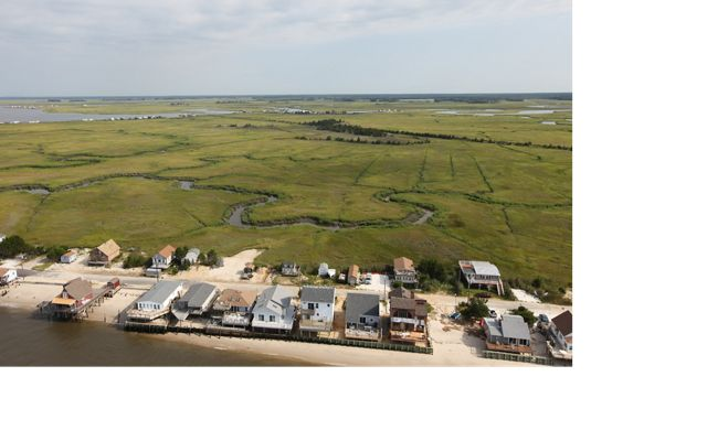 Aerial view of Cape May, with houses in foreground and salt marsh in background.